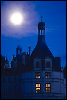 Detail of Chambord chateau with moon. Loire Valley, France