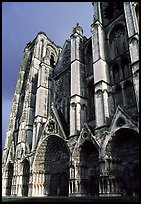 West Facade of Saint-Etienne Cathedral with unusual five-portal arrangement. Bourges, Berry, France ( color)