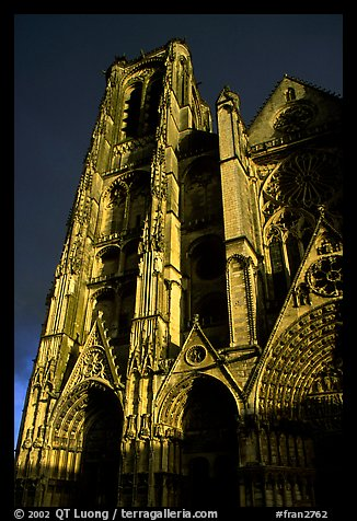 Front of Saint-Etienne Cathedral with stormy sky. Bourges, Berry, France (color)
