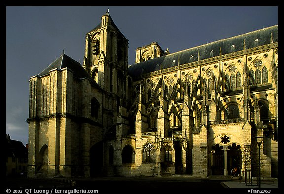 Bourges Cathedral before storm. Bourges, Berry, France (color)