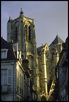 Town houses and Cathedral. Bourges, Berry, France (color)