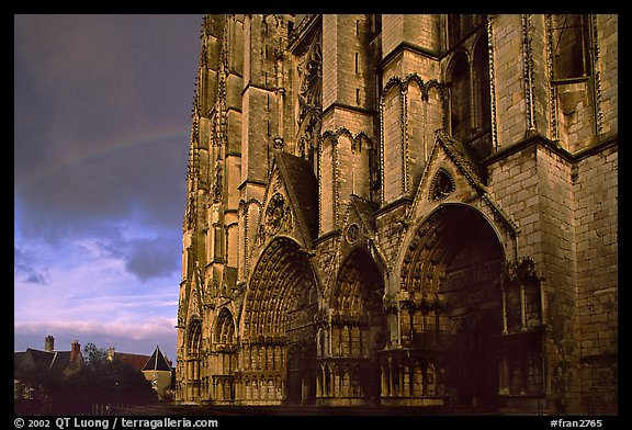 Cathedrale  Saint-Etienne de Bourges  and rainbow. Bourges, Berry, France (color)