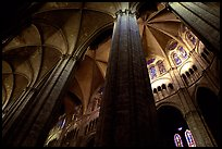 Soaring gothic columns, Saint-Etienne Cathedral. Bourges, Berry, France ( color)