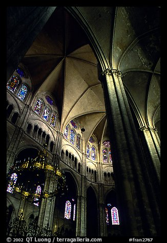 Gothic columns and nave inside Bourges Cathedral. Bourges, Berry, France (color)