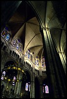 Gothic columns and nave inside Bourges Cathedral. Bourges, Berry, France ( color)
