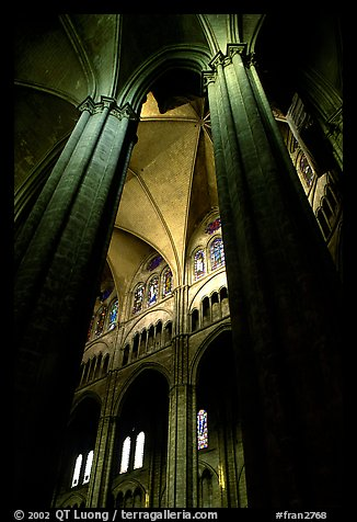 Columns inside Saint-Etienne Cathedral. Bourges, Berry, France (color)
