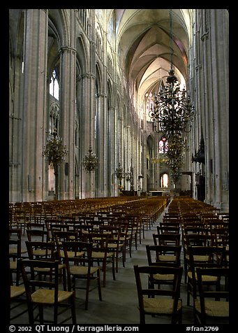 Inner aisle, the Saint-Etienne Cathedral. Bourges, Berry, France (color)