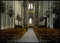 Nave,  Saint-Etienne Cathedral. Bourges, Berry, France (color)