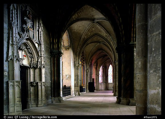 Outer  aisle,  the Saint-Etienne Cathedral. Bourges, Berry, France (color)