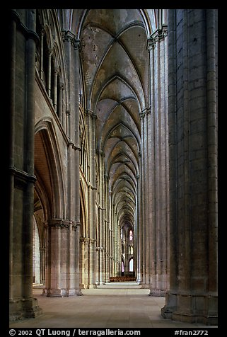 Side  aisle inside Bourges Saint Stephen Cathedral. Bourges, Berry, France (color)