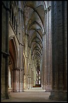 Side  aisle inside Bourges Saint Stephen Cathedral. Bourges, Berry, France ( color)