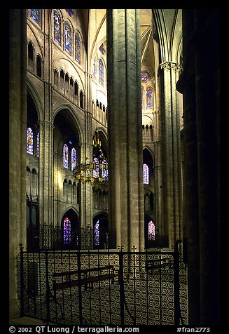 Interior view from choir, Saint-Etienne Cathedral. Bourges, Berry, France (color)