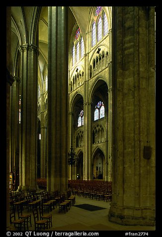 Interior of Gothic Bourges Cathedral. Bourges, Berry, France (color)