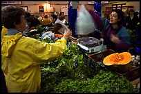 Shopping at the Fresh produce market, Saint Malo. Brittany, France ( color)