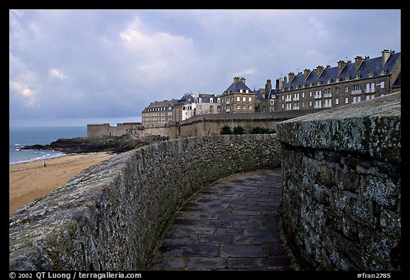 Along the ramparts of the old town, Saint Malo. Brittany, France (color)