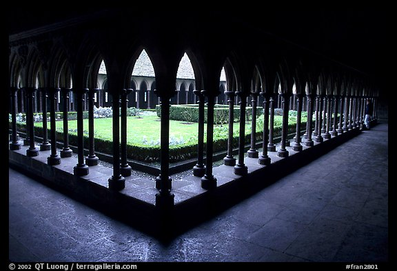 Cloister inside the Benedictine abbey. Mont Saint-Michel, Brittany, France