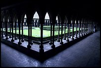 Cloister inside the Benedictine abbey. Mont Saint-Michel, Brittany, France (color)