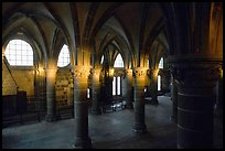 Hall of the knights inside the Benedictine abbey. Mont Saint-Michel, Brittany, France (color)