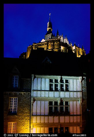 Medieval houses and abbey. Mont Saint-Michel, Brittany, France (color)