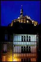 Medieval houses and abbey. Mont Saint-Michel, Brittany, France