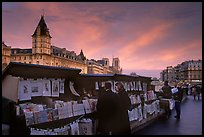 Bouquinistes (antiquarian booksellers) on the banks of the Seine. Paris, France