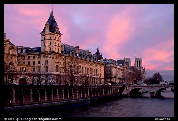 Conciergerie, Pont-au-change, and Ile de la Cite at sunset. Paris, France