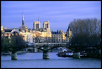 Pont des Arts and ile de la Cite, late afternoon. Paris, France