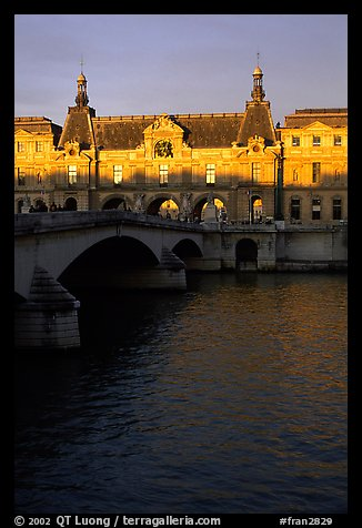Louvre and Solferino Bridge at sunset. Paris, France (color)