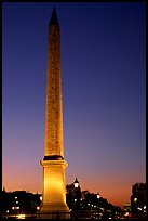 Luxor obelisk of the Concorde plaza at sunset. Paris, France (color)