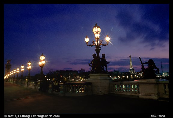 Pont Alexandre III at night. Paris, France (color)