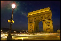 Arc de Triomphe illuminated at night. Paris, France