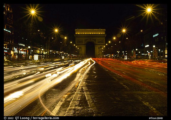 Arc de Triomphe seen from the middle of Champs Elysees at night. Paris, France