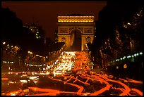 Arc de Triomphe and Champs Elysees at night. Paris, France ( color)