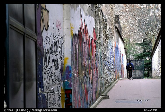 Boy in side alley with graffiti on walls. Paris, France (color)