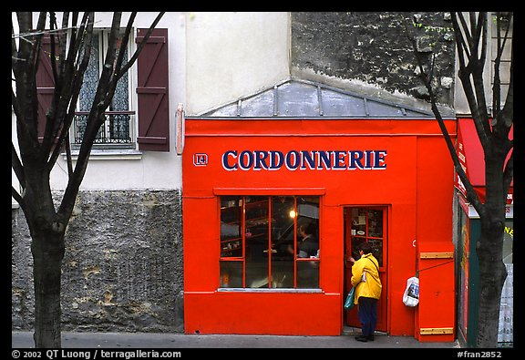Red Cordonnnerie store. Paris, France (color)