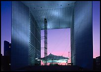 Grande Arche de la Defense at dusk. France