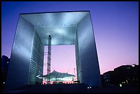 Grande Arche de la Defense at dusk. France (color)