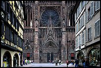 Facade of the Notre Dame cathedral seen from nearby street. Strasbourg, Alsace, France (color)