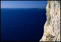 Calanque de Morgiou with rock climbers. Marseille, France (color)