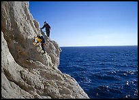 Scrambing to the Morgiou cape. Marseille, France (color)