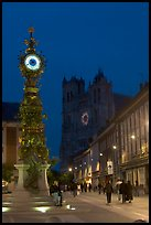 Dewailly Clock on the Marie-Sans-Chemise square by night, Amiens. France (color)
