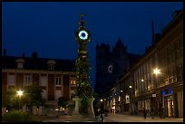 Place  Marie-Sans-Chemise and horloge Dewailly by night, Amiens. France