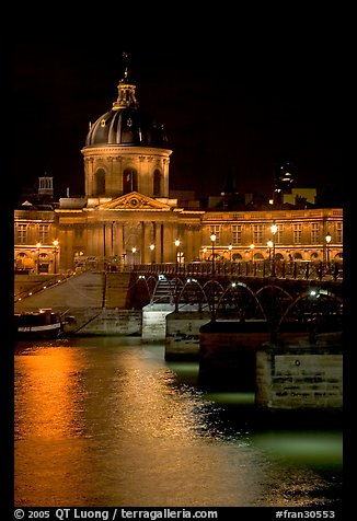 Pont des Arts and Institut de France by night. Paris, France (color)
