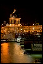 Pont des Arts and Institut de France by night. Paris, France ( color)