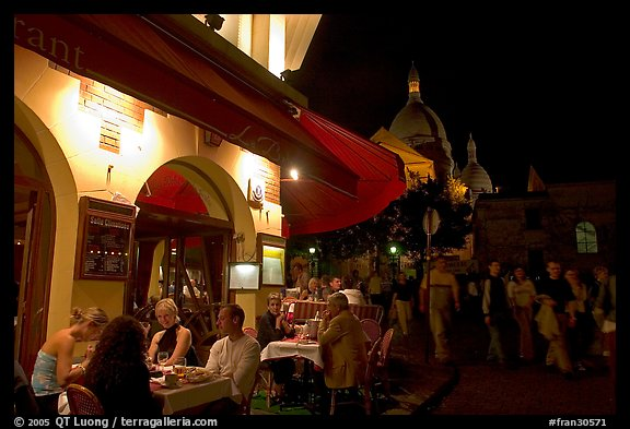 Picturephoto Outdoor Restaurant At Night On The Place Du Tertre