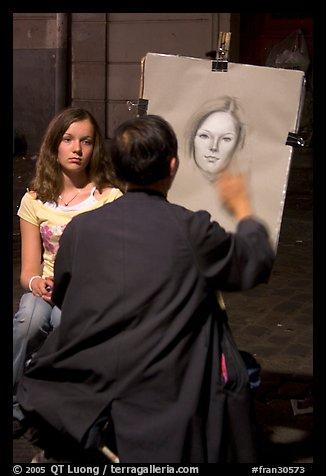 Artist and model, Place du Tertre, Montmartre. Paris, France (color)