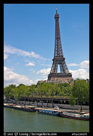 Seine River and Eiffel Tower. Paris, France