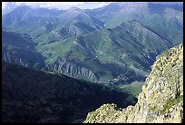 View of La Grave plateau and villages. France