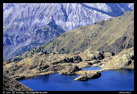 Lake and mountain hut, Mercantour National Park. Maritime Alps, France (color)
