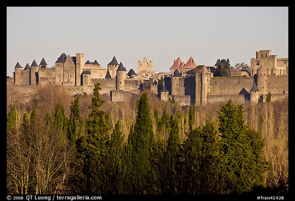 Distant view of fortified town. Carcassonne, France (color)